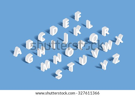 Vector 3d isometric alphabet. Design letter, typography abc set, character geometric typographic sign illustration - stock vector