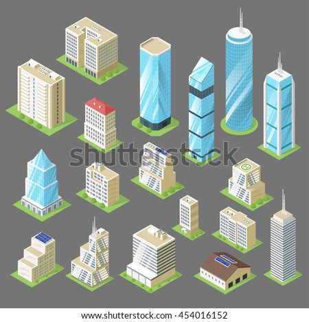 Vector 3d isometric illustration of buildings. Set of skyscraper.