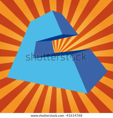 """vector 3d letter """"C"""" on disco background - stock vector"""