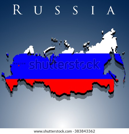 vector 3d map of Russia with a flag on a blue background, EPS 10 - stock vector