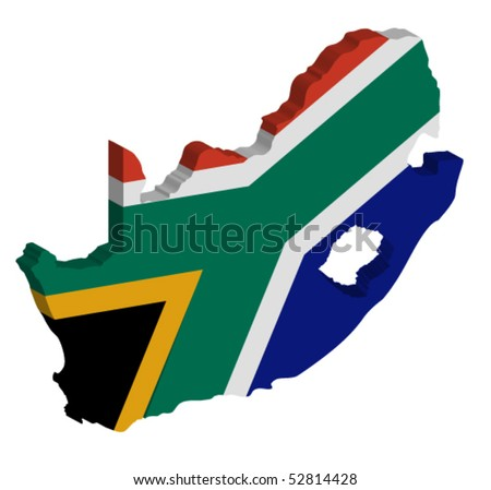 vector 3D map of South Africa - stock vector