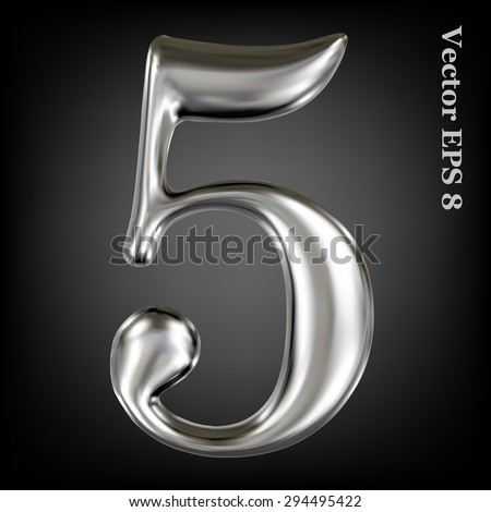 Vector 3d metal number collection - 5. Eps 8 using mesh. - stock vector