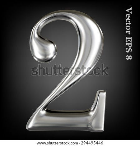 Vector 3d metal number collection - 2. Eps 8 using mesh. - stock vector