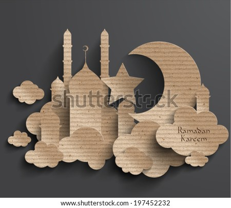 Vector 3D Muslim Cardboard Graphics. Translation: Ramadan Kareem - May Generosity Bless You During The Holy Month. - stock vector