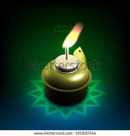 Vector 3D Muslim Oil Lamp - Pelita. Translation: Ramadan Kareem - May Generosity Bless You During The Holy Month. - stock vector
