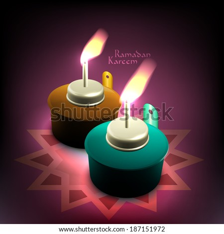 Vector 3D Muslim Oil Lamp - Pelita. Translation: Ramadan Kareem - May Generosity Bless You During The Holy Month. - stock vector