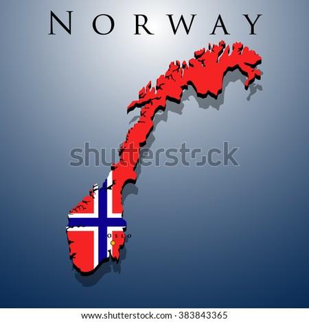 Vector D Norway Map Flag On Stock Vector Shutterstock - Norway map eps