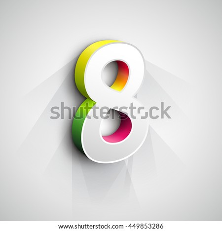 Vector 3d Number Eight. White figure 8 on Gray Background