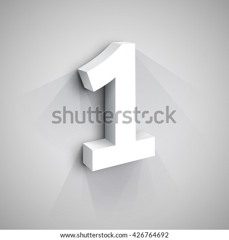 Vector 3d Number One. White figure 1 on Gray Background