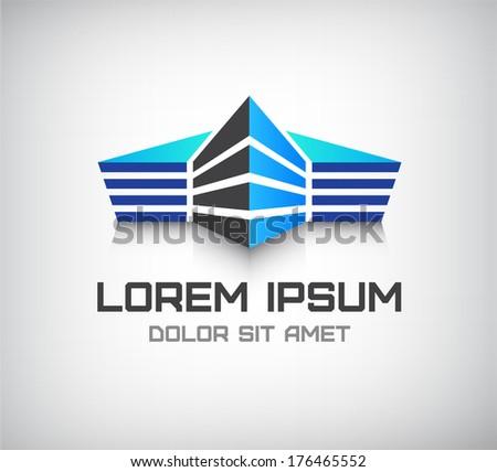 vector 3d office building, house icon, logo - stock vector