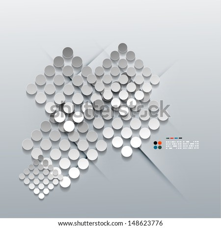 Vector 3d paper circles modern design - stock vector