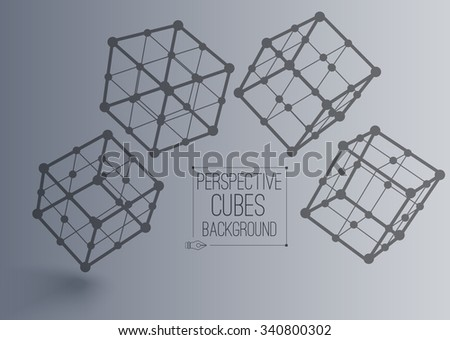 Vector 3d perspective outline four cubes in moution with realistic shadow . Abstract concept illustration ,template , background ,poster for business or science - stock vector