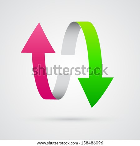 vector 3d pink and green arrows  - stock vector
