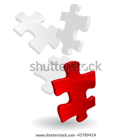 Vector 3D Puzzle - stock vector