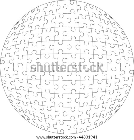Vector.3d puzzle ball in color 22 - stock vector