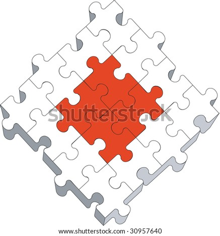 Vector. 3d puzzle in color 04 - stock vector