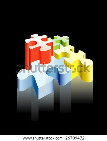 vector 3d puzzle on black - stock vector