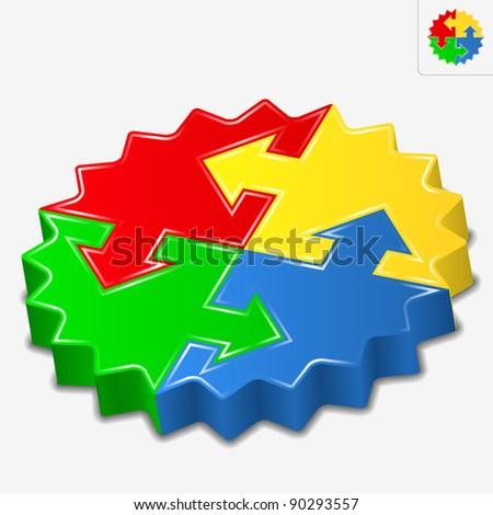 Vector 3D puzzle pieces with arrows - stock vector