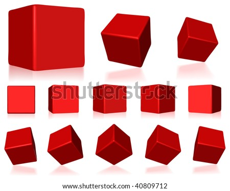 vector 3d red cubes with reflections - stock vector