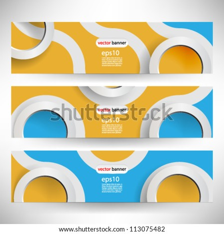 Vector 3D retro banner header template - eps10 - stock vector