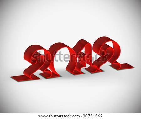vector 3d ribbon new year 2012 design. - stock vector