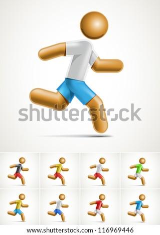 Vector 3d running man symbol. - stock vector