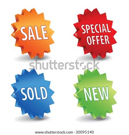 Vector 3d sale labels - stock vector