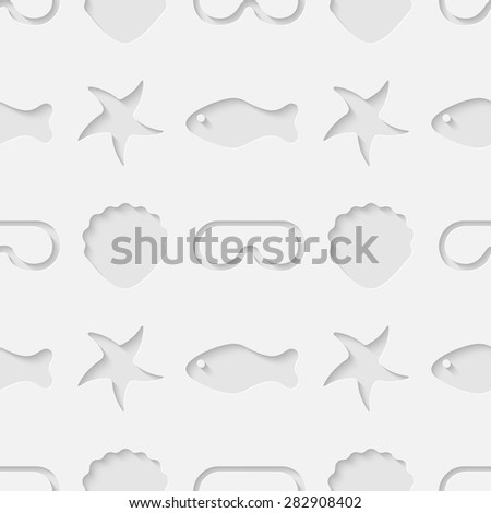 Vector 3d seamless pattern with sea, ocean beach vacation and diving symbols: shell, fish, starfish, mask. Minimalistic monochrome summer holidays background for decoration, wallpaper and print. Eps10