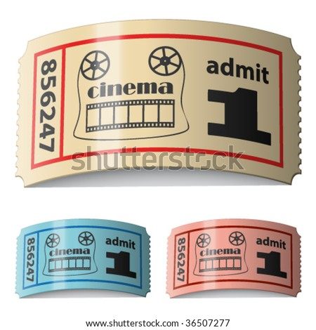 vector 3d shiny curled cinema tickets - stock vector