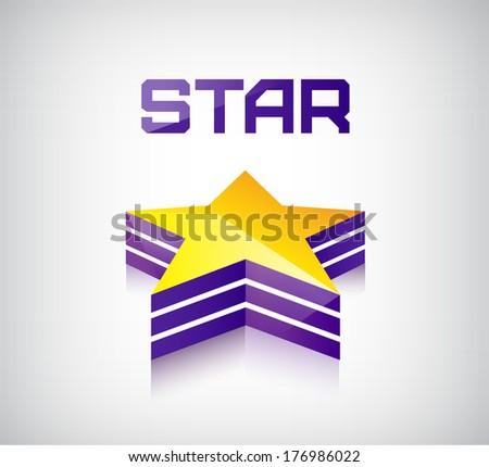 vector 3d shiny star icon, logo - stock vector