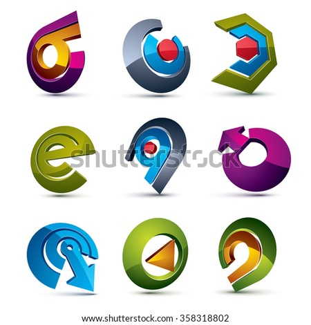 Vector 3d simple navigation pictograms collection. Set of colorful corporate abstract design elements. Arrows and circular web icons. - stock vector