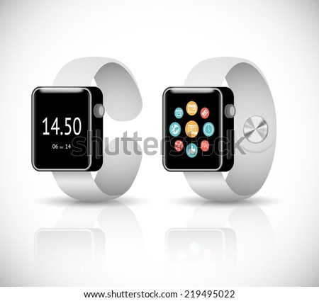 vector 3d smart watch on white background