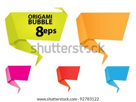 vector 3d speech bubbles set. Origami set. - stock vector