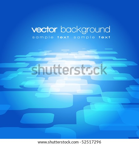 Vector 3D square on the blue background with text - stock vector