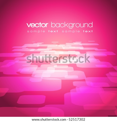 Vector 3D square on the purple-pink background with text - stock vector
