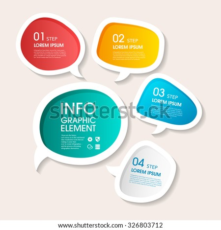 Vector 3d step label (Speech bubble) infographic design elements template for business , banners , web site , brochures