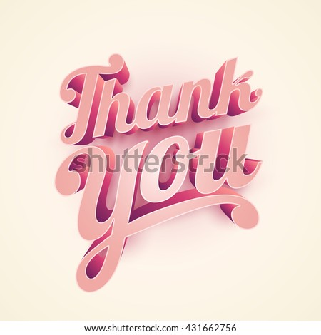 Vector 3d Thank you typographic design.  - stock vector