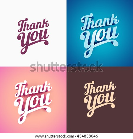 Vector 3d Thank You typographic design collection.  - stock vector