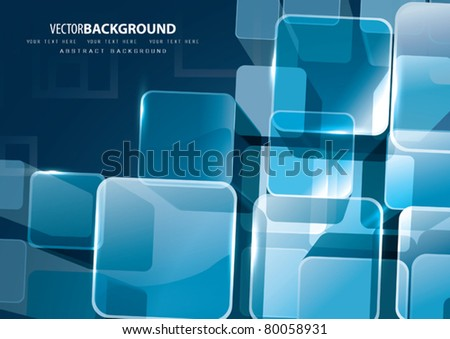 Vector 3D Transparent Cubes - stock vector