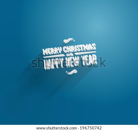 Vector 3d type blue christmas greeting card - stock vector