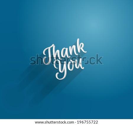 Vector 3d type blue thank you card - stock vector