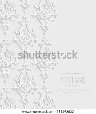 Vector 3d Vintage Wedding or Invitation Card with Floral Damask Pattern - stock vector