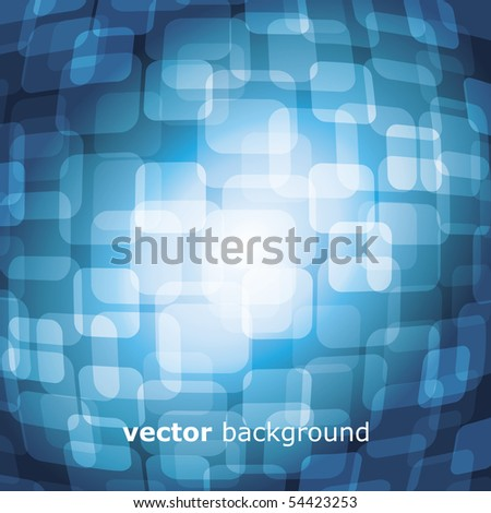 Vector 3D warped square on blue background - stock vector