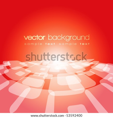 Vector 3D warped square on the colorful background with text - stock vector