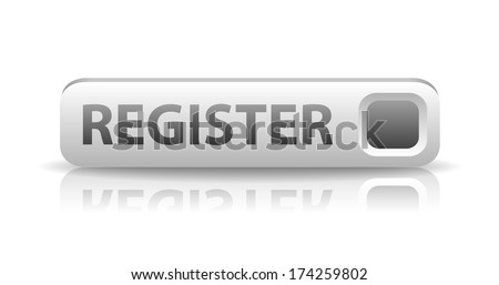 vector 3D white web button with gray sign register and reflection - stock vector
