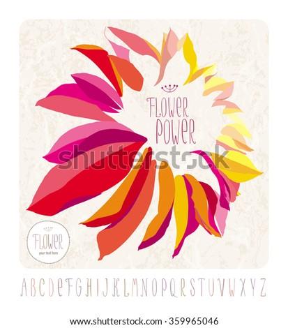 Vector dahlia flower on grunge background with hand drawn alphabet - stock vector
