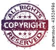 "vector damaged ""copyright"" stamp - stock vector"