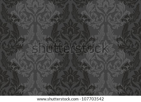 Vector damask background for textile design.  Seamless baroque pattern - stock vector