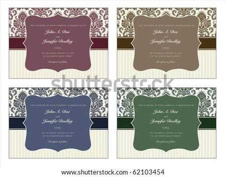 Vector damask frame set with sample text. Perfect for invitations and ornate backgrounds. - stock vector