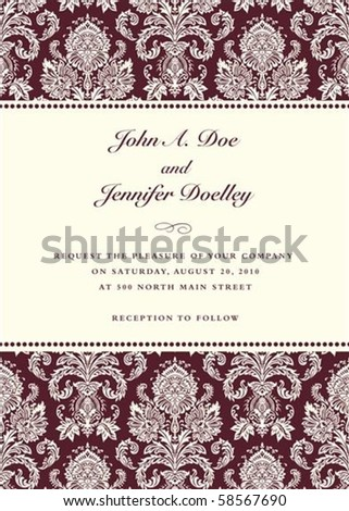 Vector damask frame with sample text. Perfect as invitation or announcement. All pieces are separate. Easy to change colors. - stock vector